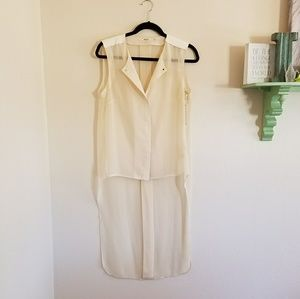 NWT J Brand sheer cream blouse with lamb leather